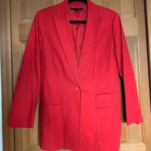 Red hip length blazer